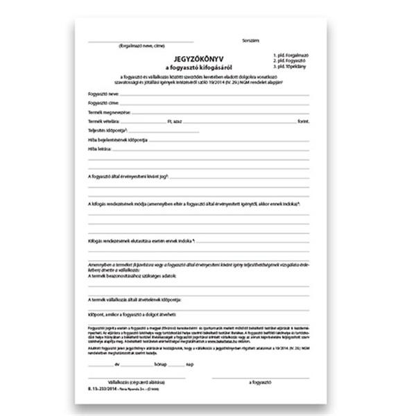 25x3lapos fogyasztói minőségi kifogás jegyzőkönyv - 2