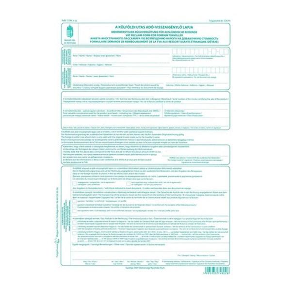 A külföldi utas adó- visszaigénylő lapja - 1