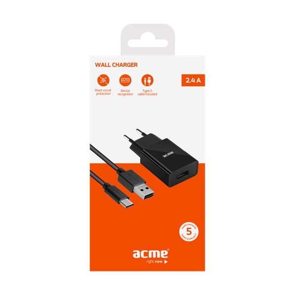 ACME CH212 2,4A univerzális USB hálózati töltő + Type-C kábel - 3