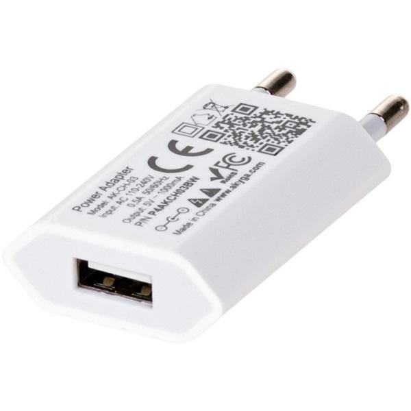 Akyga AK-CH-03WH 5V/1A/5W hálózati USB töltő - 2