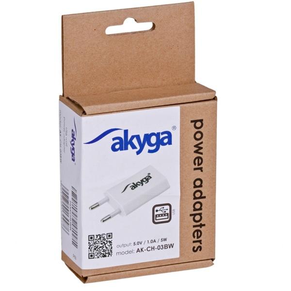 Akyga AK-CH-03WH 5V/1A/5W hálózati USB töltő - 3