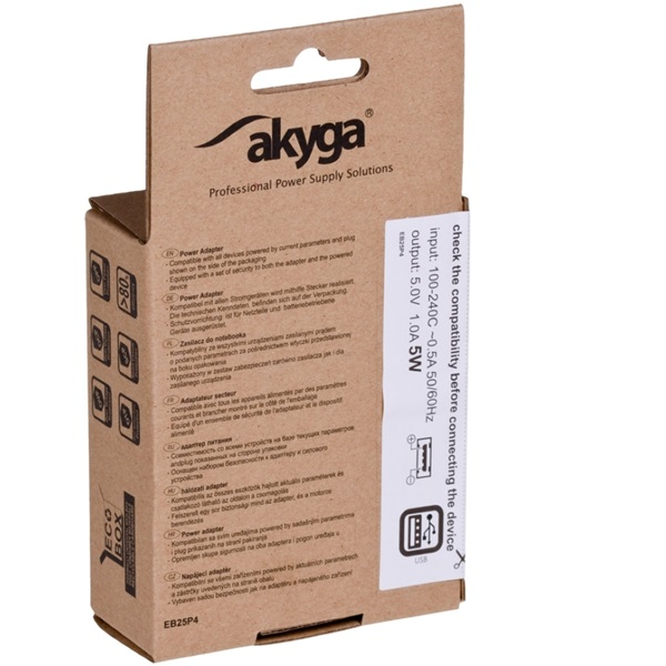 Akyga AK-CH-03WH 5V/1A/5W hálózati USB töltő - 4