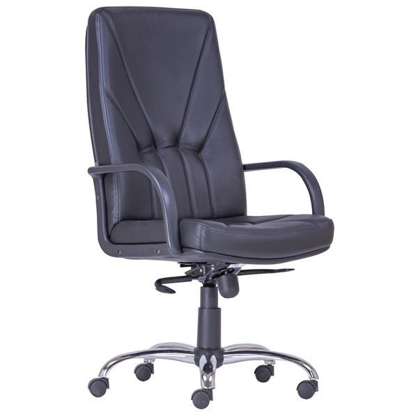 Antares 5500 XXL valódi bőr fekete főnöki fotel - 1