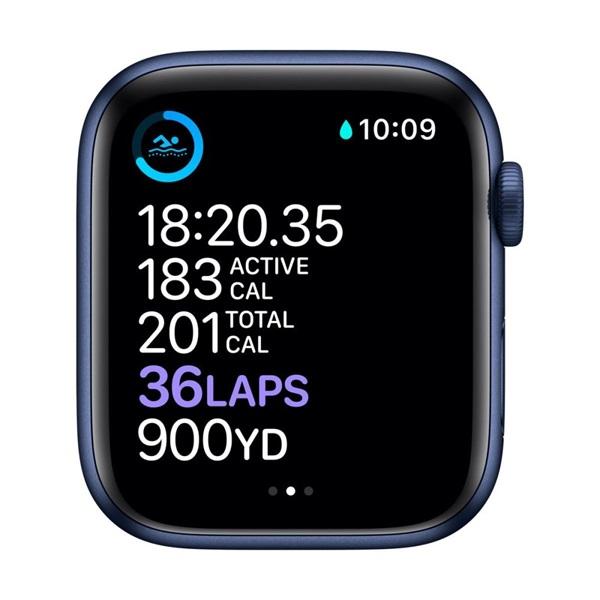 Apple Watch Series 6 GPS-es 44mm kék alumíniumtok tengerészkék sportszíjas okosóra - 3