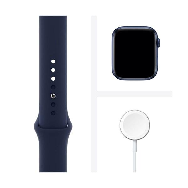 Apple Watch Series 6 GPS-es 44mm kék alumíniumtok tengerészkék sportszíjas okosóra - 4