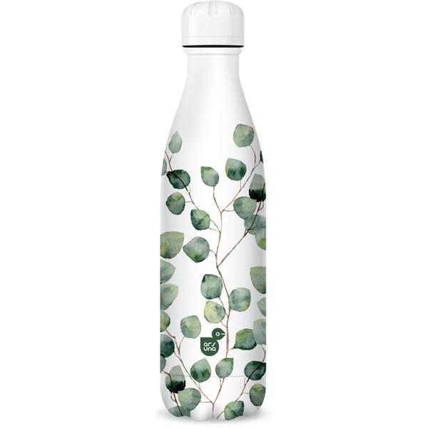 Ars Una 500ml-es Botanic leaf duplafalú fehér fémkulacs - 1