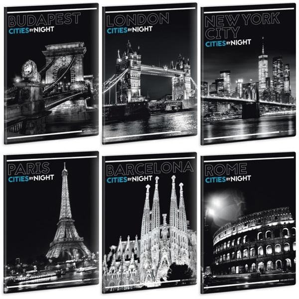 Ars Una Cities By Night A4 extra kapcsos sima füzet - 1