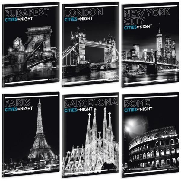 Ars Una Cities By Night A5 extra kapcsos sima füzet - 1