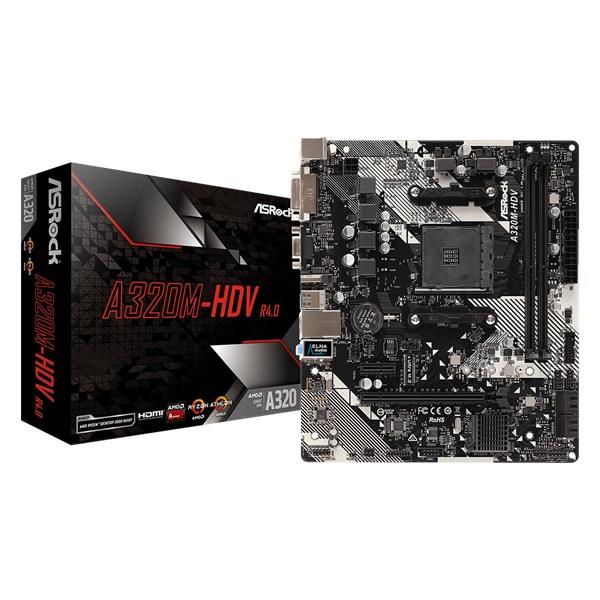 ASRock A320M-HDV R4.0 AMD A320 SocketAM4 mATX alaplap - 1