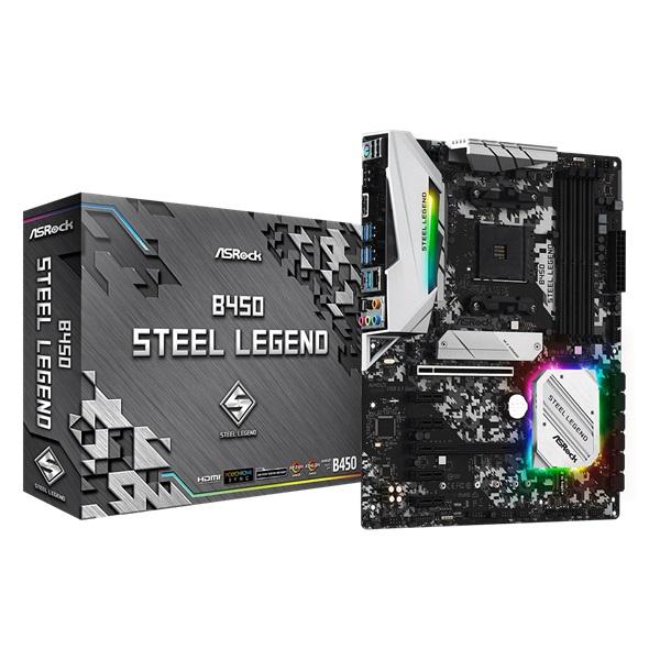 ASRock B450 STEEL LEGEND AMD B450 SocketAM4 ATX alaplap - 1