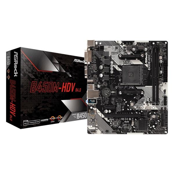 ASRock B450M-HDV R4.0 AMD B450 SocketAM4 mATX alaplap - 1
