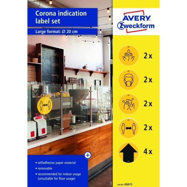 Avery 49415 20cm sárga 12db-os 5 féle koronavírus információs címke szett - 1