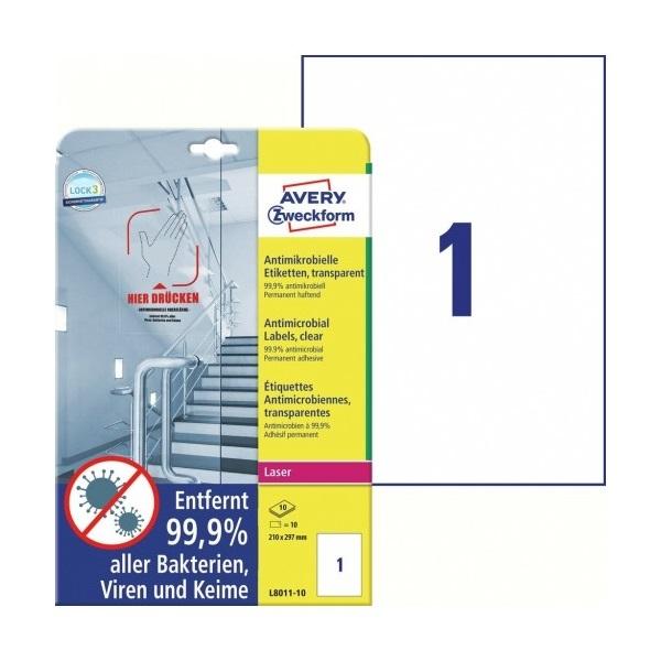 Avery L8011-10 antimikrobiális 210x297mm átlátszó fóliacímke - 1
