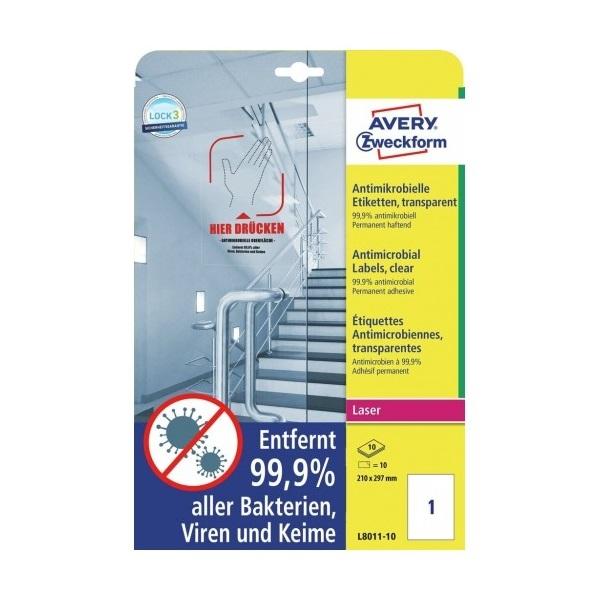 Avery L8011-10 antimikrobiális 210x297mm átlátszó fóliacímke - 2