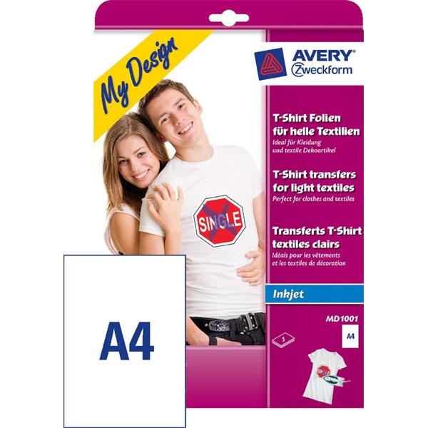 Avery MD1001 A4 világos/fehér textilre vasalható 5db fólia - 1