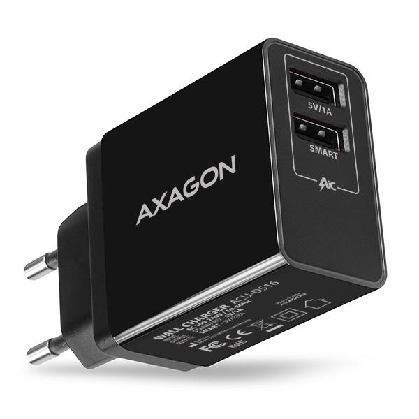 Axagon ACU-DS16 2.2A + 1A fekete fali töltő - 1