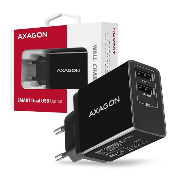 Axagon ACU-DS16 2.2A + 1A fekete fali töltő - 6