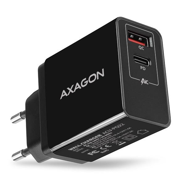 Axagon ACU-PQ22 QC3.0 + USB-C fekete fali töltő - 1
