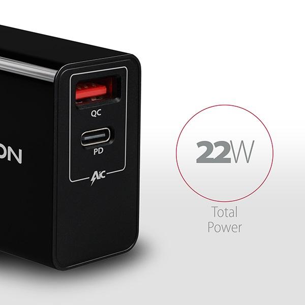 Axagon ACU-PQ22 QC3.0 + USB-C fekete fali töltő - 2