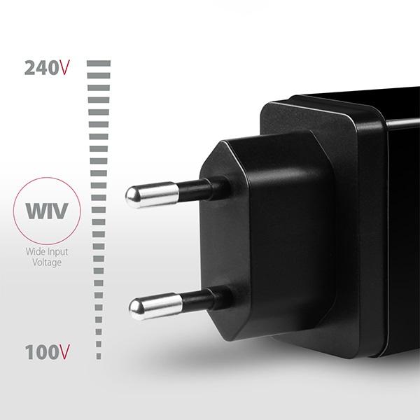 Axagon ACU-PQ22 QC3.0 + USB-C fekete fali töltő - 3
