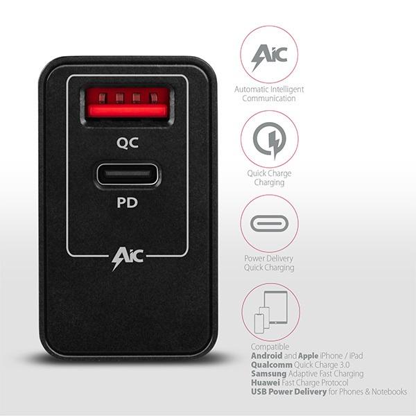 Axagon ACU-PQ22 QC3.0 + USB-C fekete fali töltő - 4