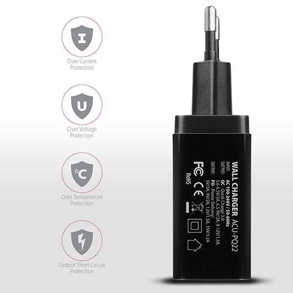 Axagon ACU-PQ22 QC3.0 + USB-C fekete fali töltő - 5