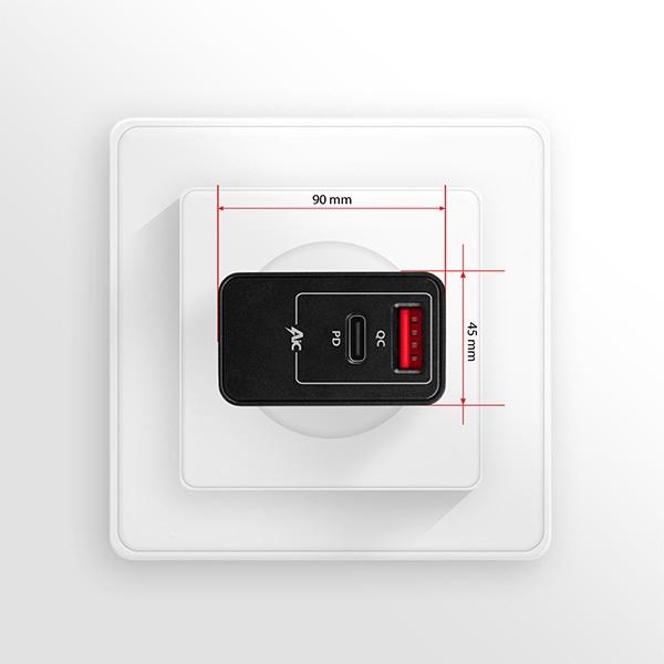 Axagon ACU-PQ22 QC3.0 + USB-C fekete fali töltő - 7