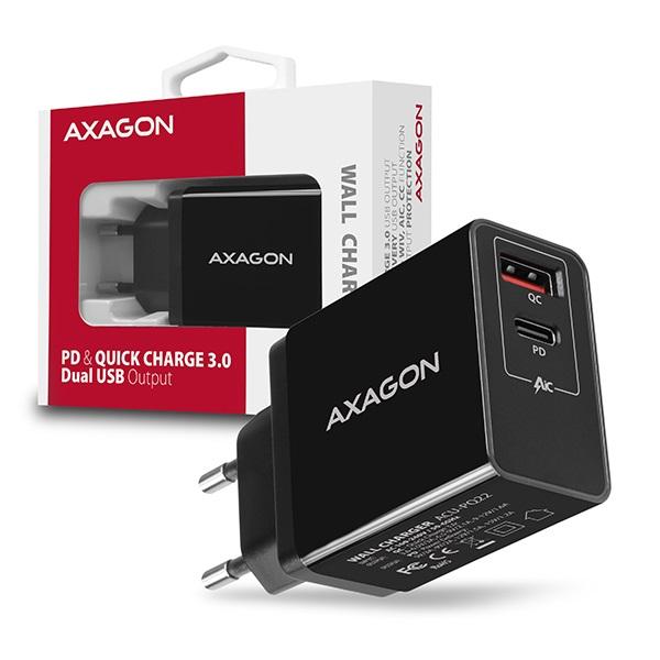 Axagon ACU-PQ22 QC3.0 + USB-C fekete fali töltő - 8