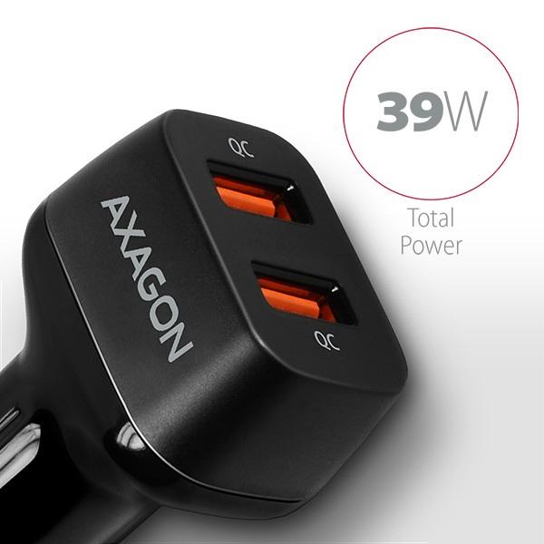 Axagon PWC-DQC 2x QC3.0 fekete autós töltő - 2