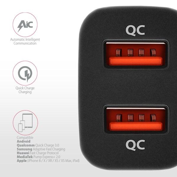 Axagon PWC-DQC 2x QC3.0 fekete autós töltő - 4
