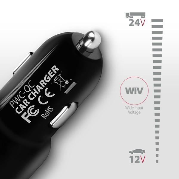 Axagon PWC-QC QC3.0 fekete autós töltő - 3