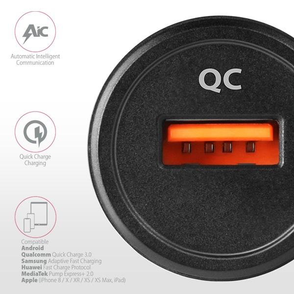 Axagon PWC-QC QC3.0 fekete autós töltő - 4