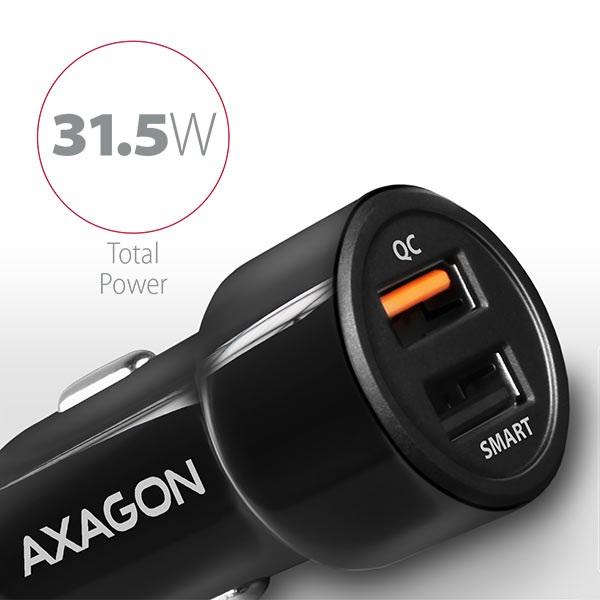 Axagon PWC-QC5 QC3.0 + 2.4A fekete autós töltő - 2