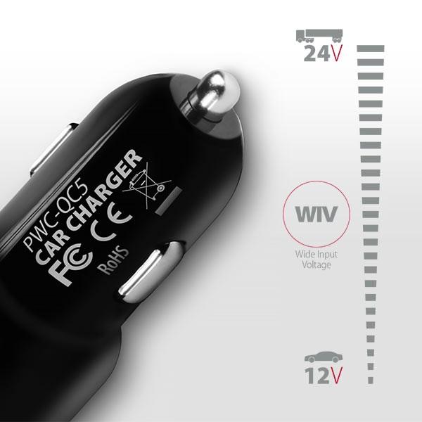 Axagon PWC-QC5 QC3.0 + 2.4A fekete autós töltő - 3