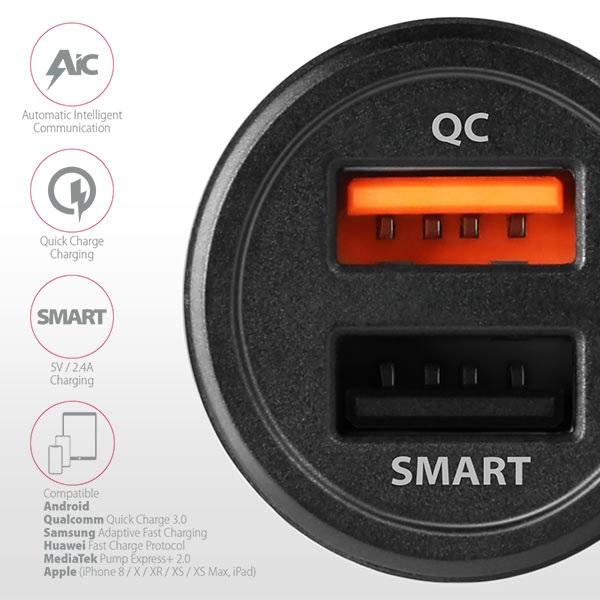 Axagon PWC-QC5 QC3.0 + 2.4A fekete autós töltő - 4