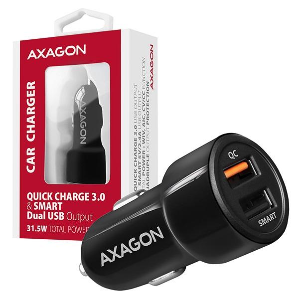 Axagon PWC-QC5 QC3.0 + 2.4A fekete autós töltő - 6