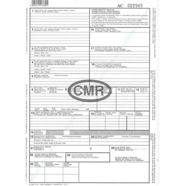 B.CMR A4 6lapos álló nemzetközi CMR fuvarlevél - 1