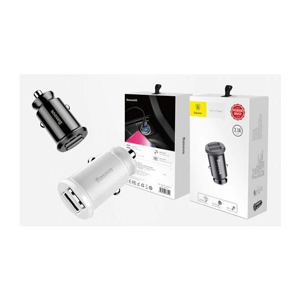 Baseus Grain 3,1A dual USB fehér autós töltő - 1