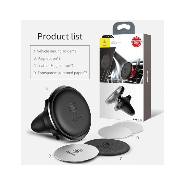 Baseus Magnetic Air Vent univerzális mágneses ezüst autós telefon tartó - 3
