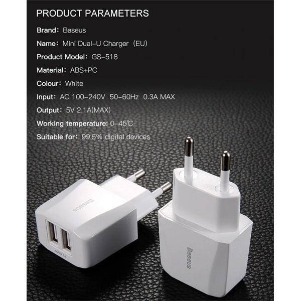 Baseus Travel Mini Dual USB 5V/2,1A fehér hálózati töltőfej - 2