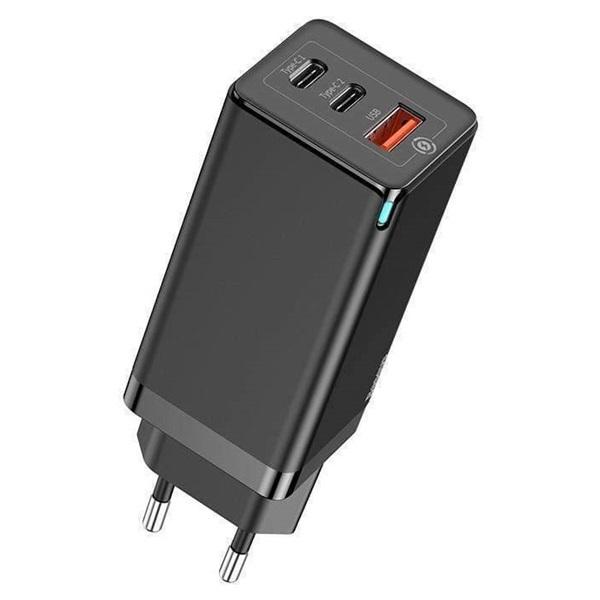 Baseus USB-C+C+A PD3.0/PPS/QC4 65W fekete hálózati gyorstöltőfej - 2