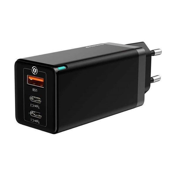 Baseus USB-C+C+A PD3.0/PPS/QC4 65W fekete hálózati gyorstöltőfej - 3