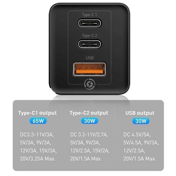 Baseus USB-C+C+A PD3.0/PPS/QC4 65W fekete hálózati gyorstöltőfej - 5