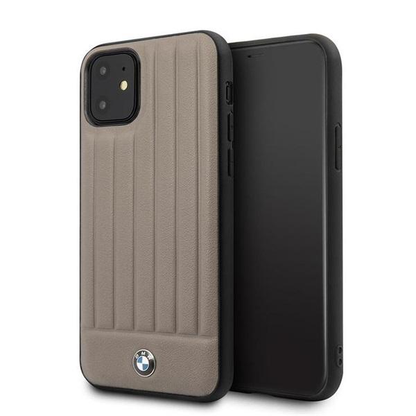 BMW iPhone 11 csíkos barna kemény bőrtok - 1