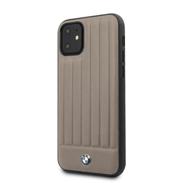 BMW iPhone 11 csíkos barna kemény bőrtok - 2