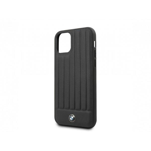 BMW iPhone 11 csíkos fekete kemény bőrtok - 1