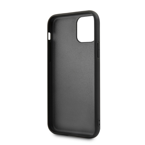 BMW iPhone 11 csíkos fekete kemény bőrtok - 3