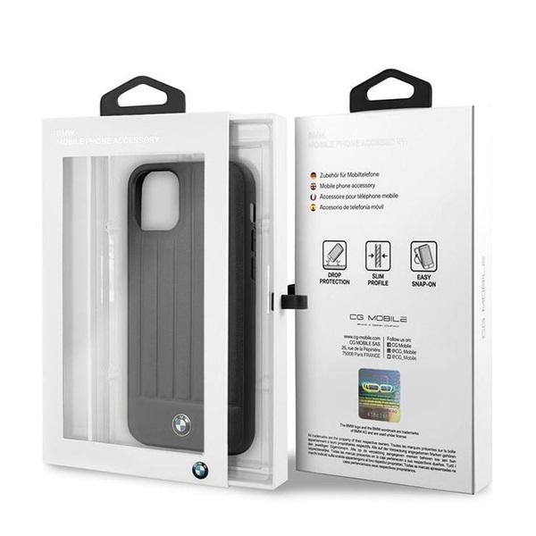 BMW iPhone 11 csíkos fekete kemény bőrtok - 5