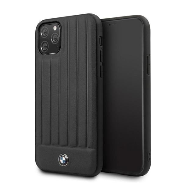 BMW iPhone 11 Pro csíkos fekete kemény bőrtok - 3