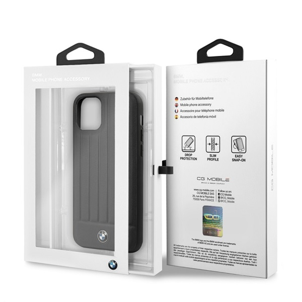 BMW iPhone 11 Pro csíkos fekete kemény bőrtok - 4